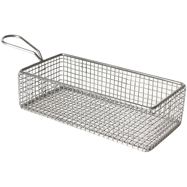 Stainless steel rectangular fryer serving basket 21 5 x 10 for Fish fryer basket