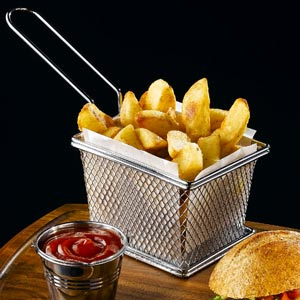 Mini Chrome Fryer Serving Basket 12.5 x 10 x 8.5cm