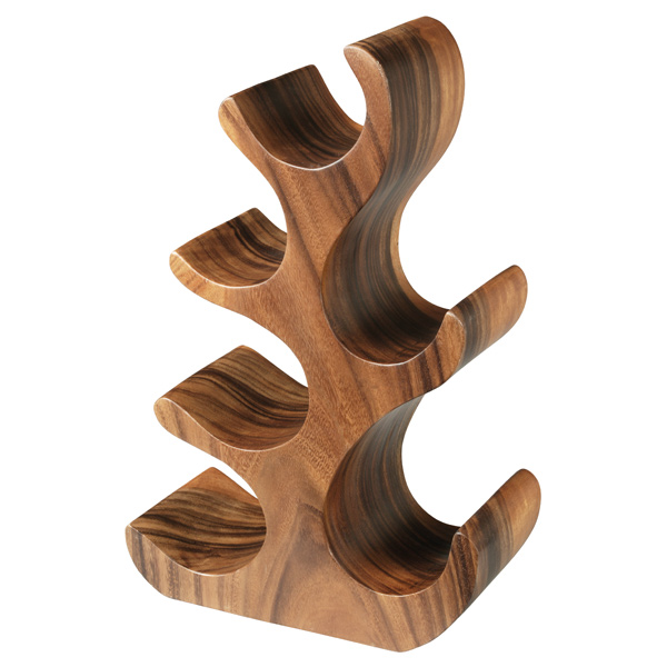 Natchez Acacia Wood 6 Bottle Wine Rack Drinkstuff