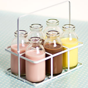 6 School Milk Bottles in Crate 3.5oz / 100ml