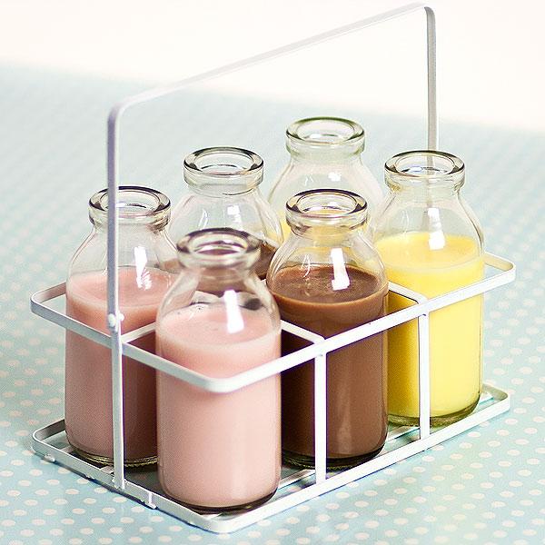 6 School Milk Bottles In Crate 3 5oz 100ml
