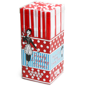 Bendy Drinking Straws Red & White