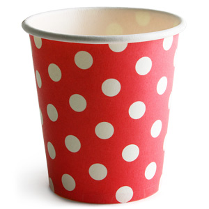 Retro Spotty Paper Cups Red 8oz / 230ml