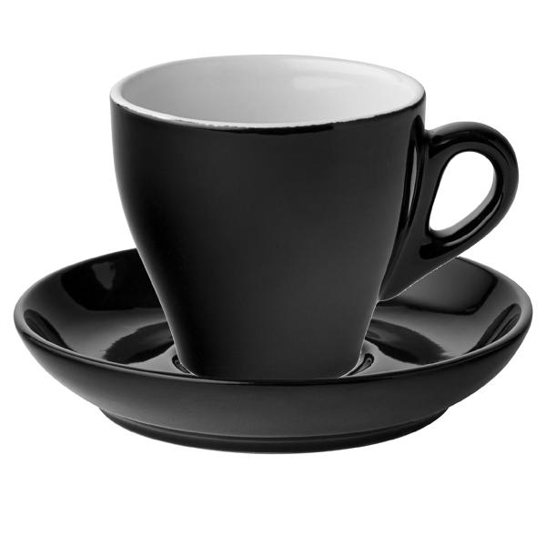 Midnight Cuccino Cups Saucers Black 5 5oz 160ml