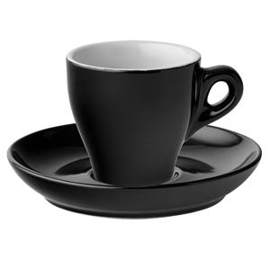 Midnight Espresso Cups & Saucers Black 2.5oz / 80ml