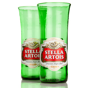 Recycled Stella Artois Beer Bottle Glasses 11.6oz / 330ml