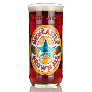 Recycled Newcastle Brown Ale Bottle Pint Glass 20oz / 568ml