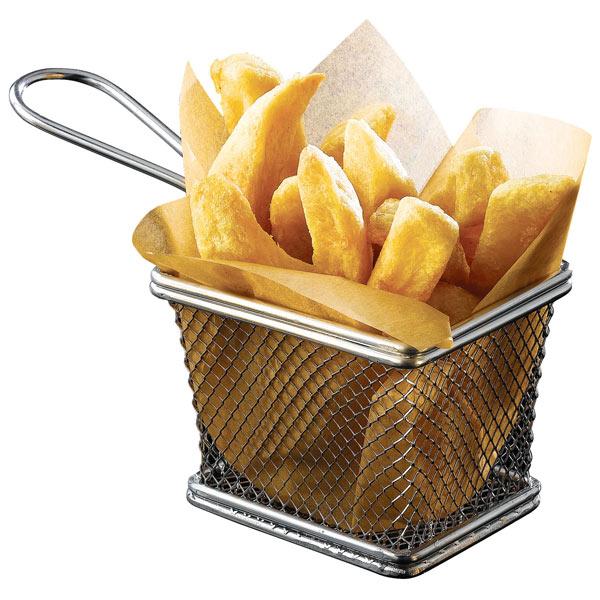 mini chrome fryer serving basket 10 x 8 x chip. Black Bedroom Furniture Sets. Home Design Ideas
