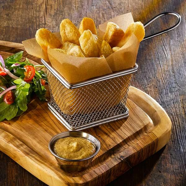 Tiny Kitchen Fish And Chips: Mini Chrome Fryer Serving Basket 10 X 8 X 7.5cm