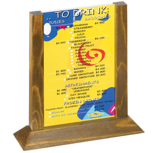 Two View Wood Table Tent Menu Holder Walnut Frame 5 x 7inch