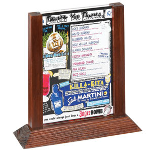 Two View Wood Table Tent Menu Holder Mahogany Frame 5 x 7inch