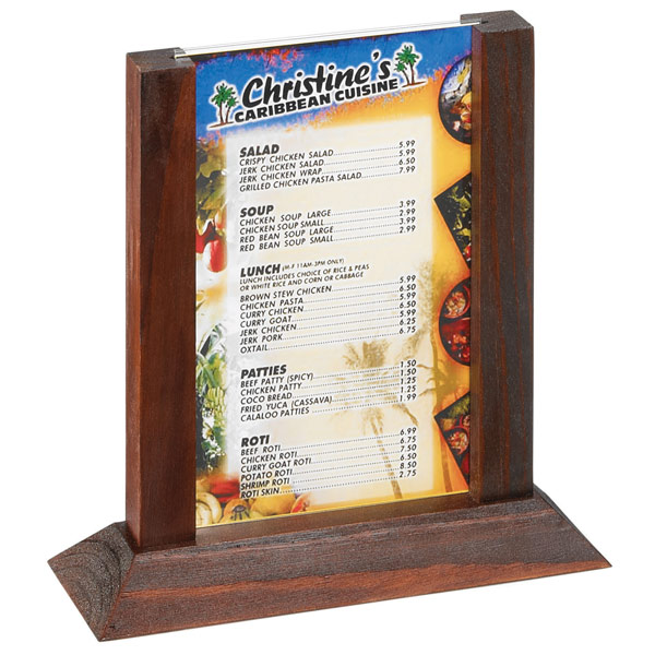 Two view wood table tent menu holder mahogany frame 4 x for Table 52 drink menu
