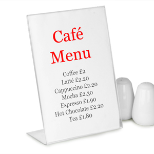 Perspex Angled Menu Holder A5