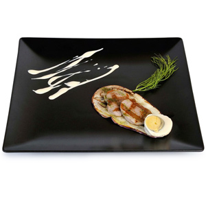 Luna Square Coupe Plate Black 18cm