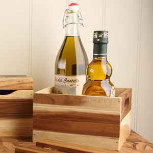 Acacia Storage & Display Crate with Four Compartments