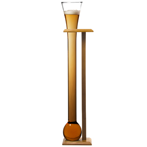 Glass Yard of Ale with Stand