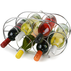 Premier Oval 6 Bottle Chrome Wine Rack