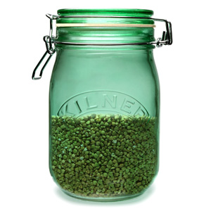 Kilner Round Clip Top Jar Green 1ltr (Single) Image