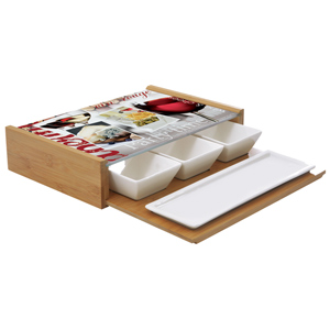 Easy Life Smart Idea Serving Combo Set with 4 Dishes & Pull-Out Tray