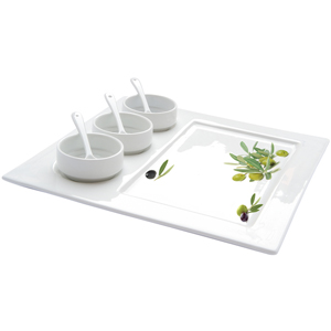 Easy Life Douce Provence Appetizer Serving Plate with Bowls & Spoons