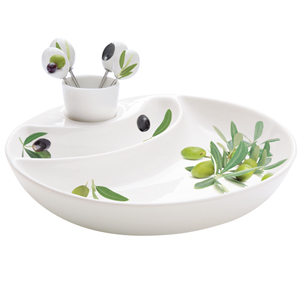 Easy Life Douce Provence Olive Plate with Picks & Holder