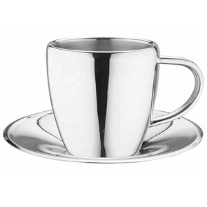 Stainless Steel Cappuccino & Espresso Cup & Saucer CCA-20S 7oz / 200ml