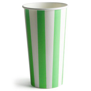 Green Striped Milkshake Paper Cups 16oz / 450ml