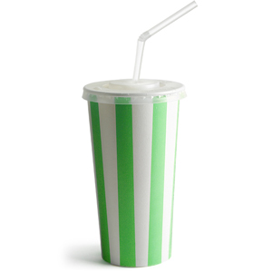 Green Striped Milkshake Paper Cups Set 16oz / 450ml