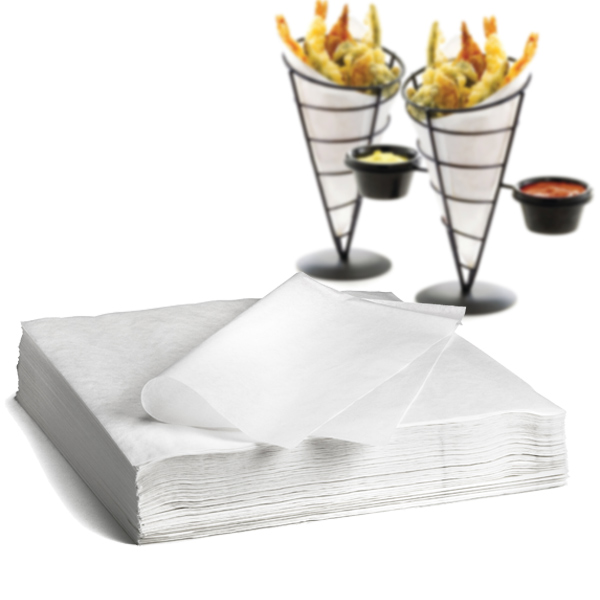Grease Resistant Basket / Cone Liners White 12 x 12inch
