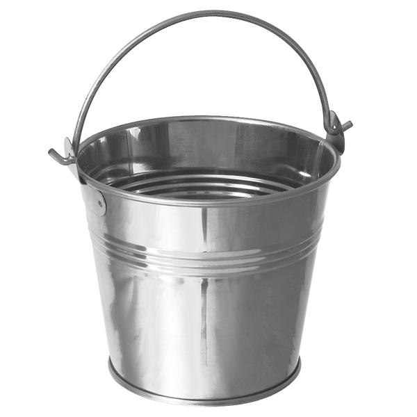 Galvanised Steel Serving Bucket 12cm Mini Bucket Chip Bucket