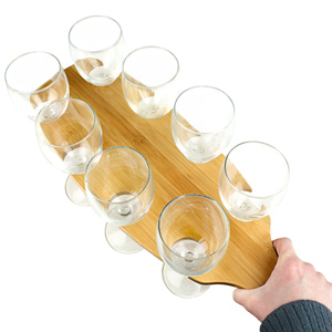 Utopia Bamboo Wine Flight 18inch with Savoie Wine Glasses