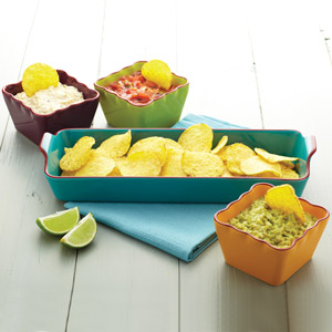 World of Flavours Mexican Four Piece Ceramic Dip Serving Set