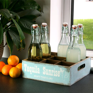 Wooden Mexican Style Bottle Crate 26 x 26cm Tequila Sunrise