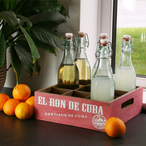 Wooden Mexican Style Bottle Crate 26 x 26cm El Ron De Cuba