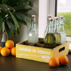 Wooden Mexican Style Bottle Crate 26 x 26cm Laranja Do Parana