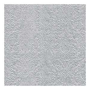 Moments Ornament Embossed Dinner Napkins Silver 40cm 3ply