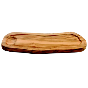 Olive Wood Food Presentation Board with Groove & Handle 30cm