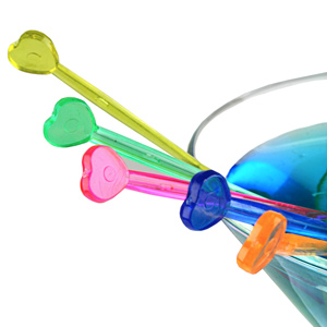 Colourful Hearts Drink Stirrers