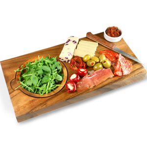 Natchez Acacia Serving Board with Dish 39 x 20cm