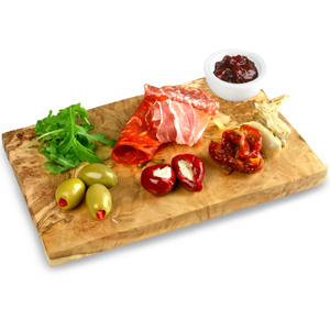 Olive Wood Rectangular Food Presentation Board with Pinch Pot