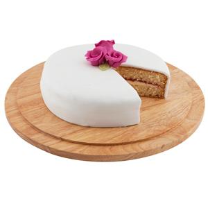 Hevea Wood Serving Board & Cake Plate 33cm