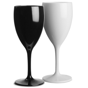 Polycarbonate Wine Glasses Black & White Set 12oz / 340ml