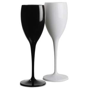 Polycarbonate Champagne Flutes Black & White Set 6oz / 170ml