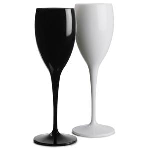 Polycarbonate Champagne Flutes Black & White Set 6oz / 170ml