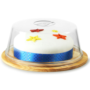 Hevea Wood Cake Plate and Plastic Cake Dome