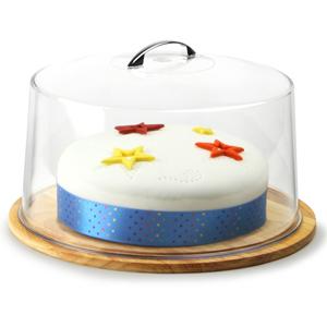 Hevea Wood Cake Plate and Metal Handle Cake Dome