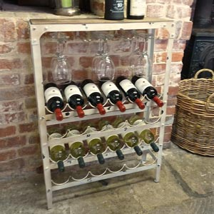 Antique White Wine Rack 24 Bottle