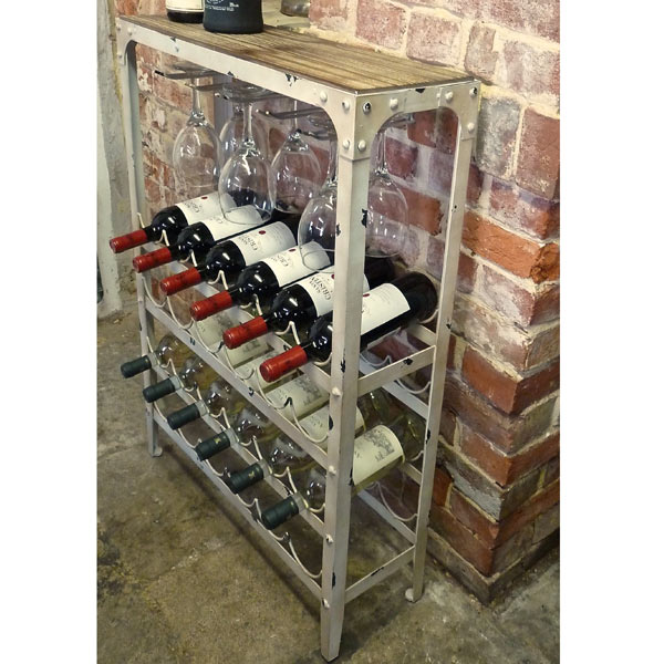 Antique White Wine Rack 24 Bottle Drinkstuff