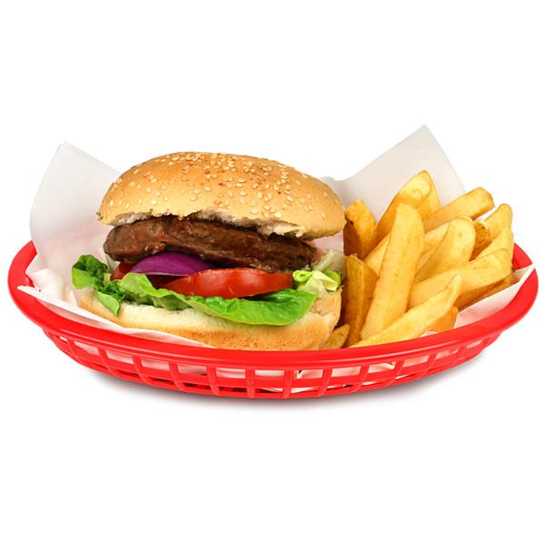 Classic Oval Food Basket Red 24x15x5cm | Chip Basket Serving Basket Bread Basket - Buy at drinkstuff
