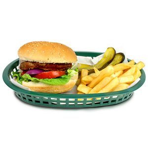 Chicago Oval Platter Basket Forest Green 27x18x4cm